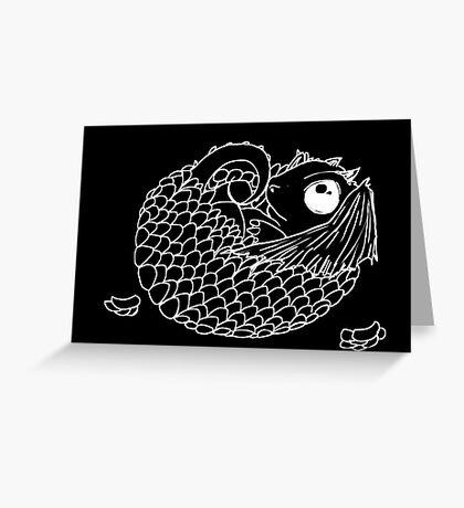 Hatchling -  White Line Art on Black  Greeting Card