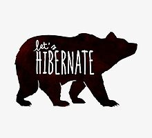Let's Hibernate | Watercolor Bear Typography Sleeping Quote by BootsBoots