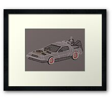 DeLorean Typography Framed Print