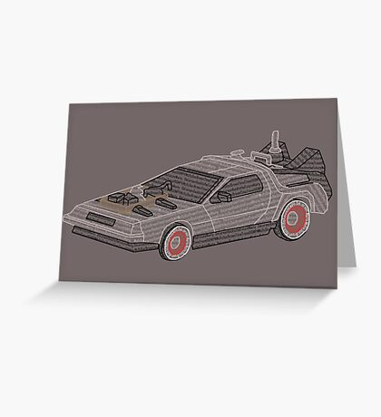 DeLorean Typography Greeting Card
