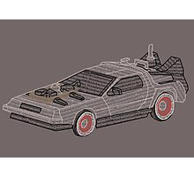 DeLorean Typography Photographic Print