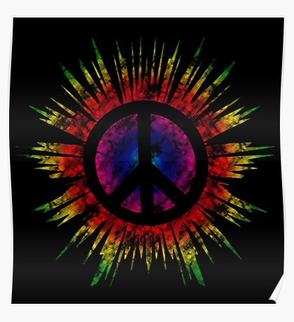 Tie Dye Peace Sign Poster
