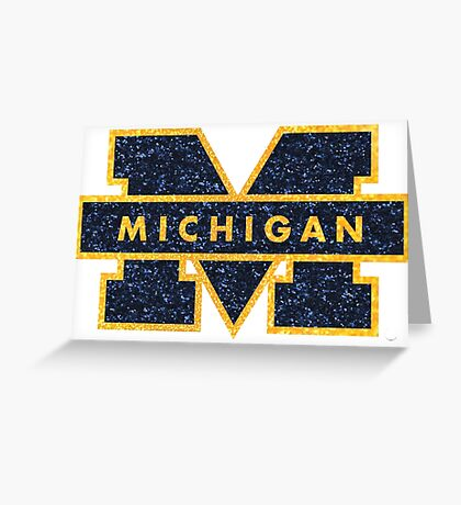 Glitter Michigan M Greeting Card