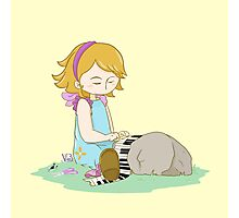 Cute girl playing piano Photographic Print
