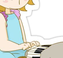 Cute girl playing piano Sticker
