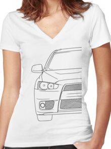 Evo 10 outline - black Women's Fitted V-Neck T-Shirt