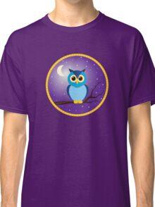 Blue Owl in Purple Night Sky Classic T-Shirt