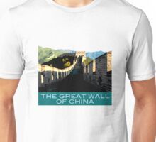 Great Wall of China Souvenir Design, in Vintage Travel Poster Style Unisex T-Shirt