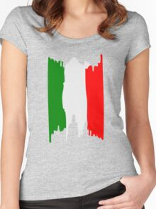 Italy flag art Women's Fitted Scoop T-Shirt