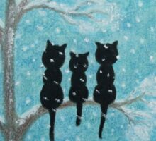 Cats in Snow: Cats in tree with Snow and Moon Sticker