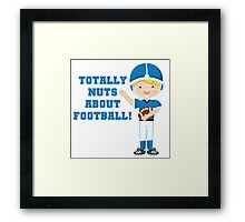 Blue Football Player Nuts About Football Framed Print