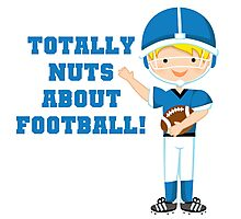 Blue Football Player Nuts About Football Photographic Print