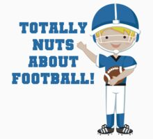 Blue Football Player Nuts About Football One Piece - Short Sleeve