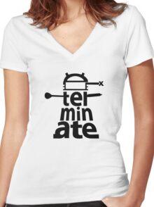 Dalek Exterminate Women's Fitted V-Neck T-Shirt