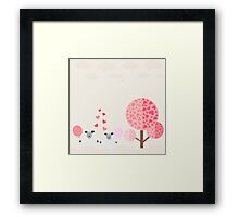 love the sheep with the tree love,vector illustration Framed Print