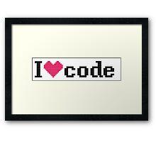 I love code - Pixel version Framed Print