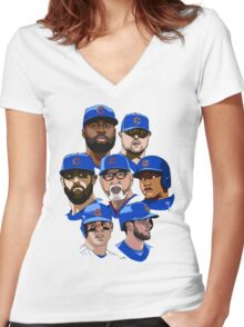 2016 Cubs Women's Fitted V-Neck T-Shirt