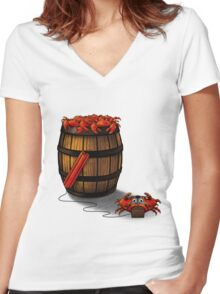 Crabs in a Barrel Women's Fitted V-Neck T-Shirt