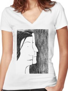 Two Women's Fitted V-Neck T-Shirt
