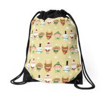 Christmas Crew - Yellow - Lines Drawstring Bag