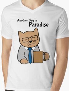 Another Day in Paradise, office worker cat Mens V-Neck T-Shirt