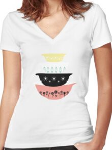 Pyrex Pretties Women's Fitted V-Neck T-Shirt