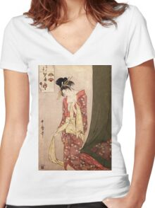 Reproduction Vintage Japanese painting  Women's Fitted V-Neck T-Shirt