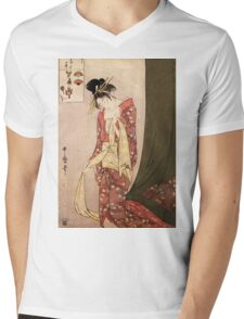Reproduction Vintage Japanese painting  Mens V-Neck T-Shirt