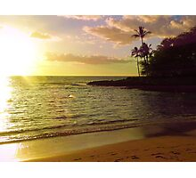 Beach scene, Hawaii, polynesia, sea, ocean, sunset Photographic Print