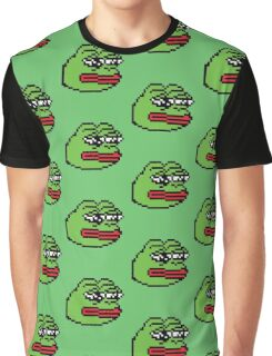 Pixelated Pepe Sad Frog Meme (Rare, Dank) Graphic T-Shirt