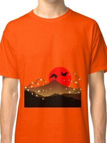 Fujiyama, crane and sakura Classic T-Shirt