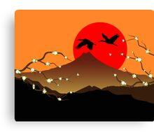 Fujiyama, crane and sakura Canvas Print