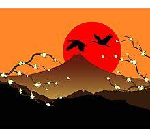 Fujiyama, crane and sakura Photographic Print