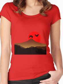 Fujiyama at sunset with two crane Women's Fitted Scoop T-Shirt