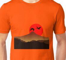 Fujiyama at sunset with two crane Unisex T-Shirt