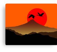 Fujiyama at sunset with two crane Canvas Print