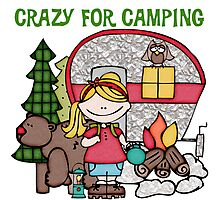 Blond Girl Crazy For Camping Vacations Photographic Print