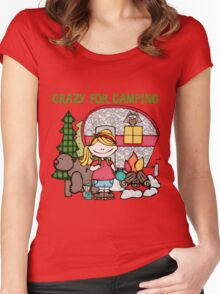 Blond Girl Crazy For Camping Vacations Women's Fitted Scoop T-Shirt