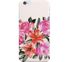 Roses and Lilies in watercolor iPhone Case/Skin