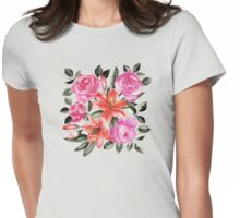 Roses and Lilies in watercolor Womens Fitted T-Shirt