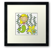Blond Haired Ocean Mermaid With Starfish Framed Print