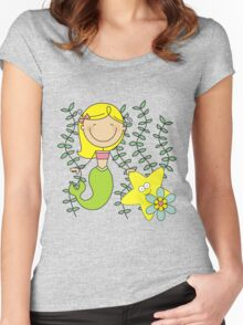 Blond Haired Ocean Mermaid With Starfish Women's Fitted Scoop T-Shirt