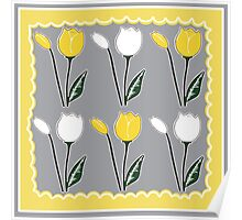 Tulips Pattern in Yellow, White, and Grey Poster