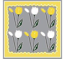 Tulips Pattern in Yellow, White, and Grey Photographic Print