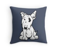 English Bull Terrier Black Eye Patch  Throw Pillow