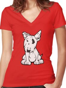 English Bull Terrier Black Eye Patch  Women's Fitted V-Neck T-Shirt