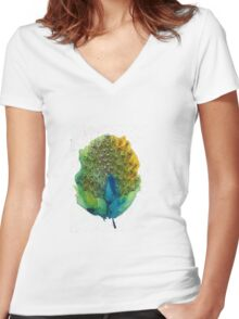 Watercolour Peacock Women's Fitted V-Neck T-Shirt