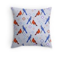 8-bit Blue Jay and Cardinal Pattern Throw Pillow