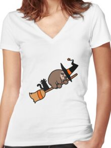 Witch Sloth on Broomstick Women's Fitted V-Neck T-Shirt