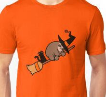 Witch Sloth on Broomstick Unisex T-Shirt